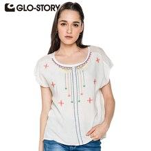 GLO-STORY Женщины Топы 2017 Летние Блузки С Коротким Рукавом Случайные Женщины Рубашка