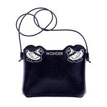 Высокое качество Девушка Черный Кожа PU Сумки через плечо с мультфильм животных печати для молодых леди Повседневное сумка и сумки f389