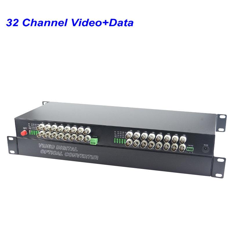 1Pair 32 Channel Digital Video Fiber Optical Media Converters Extender With 485 Data FC Fiber Optic Up To 20Km For CCTV Security