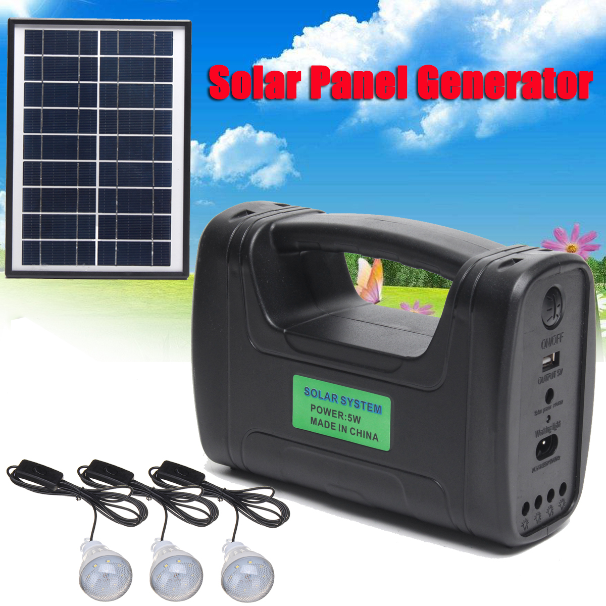 Portable Solar Panels Charging Generator Power System 5W Mini Outdoor Power Home Outdoor LED Lighting System 110-220V клавиатура a4tech bloody b120 black usb