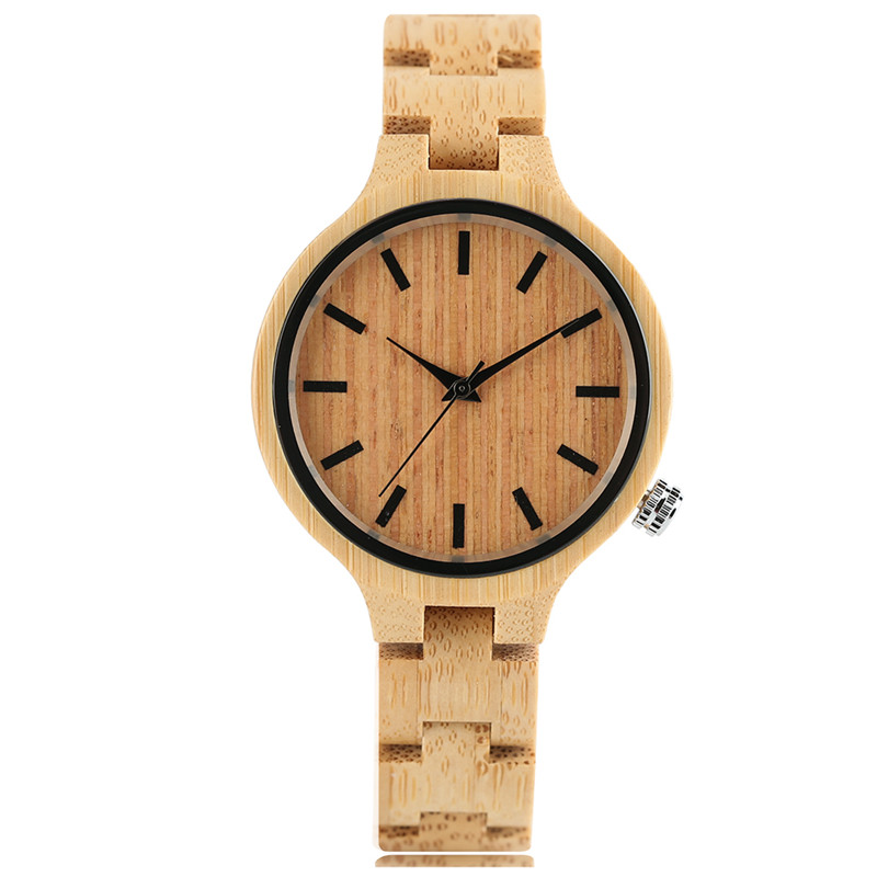 Women s Watches Top Brand Luxury Casual Quartz Wooden Watch 100 Natural Wood Full Bamboo Bangle