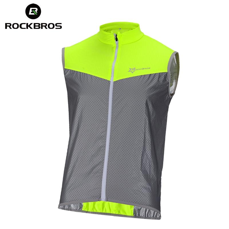 ROCKBROS Reflective Safety Vest Sleeveless Cycling Vest Jacket Windproof Bike Clothing Bicycle Jersey Coat Chaleco Ciclismo