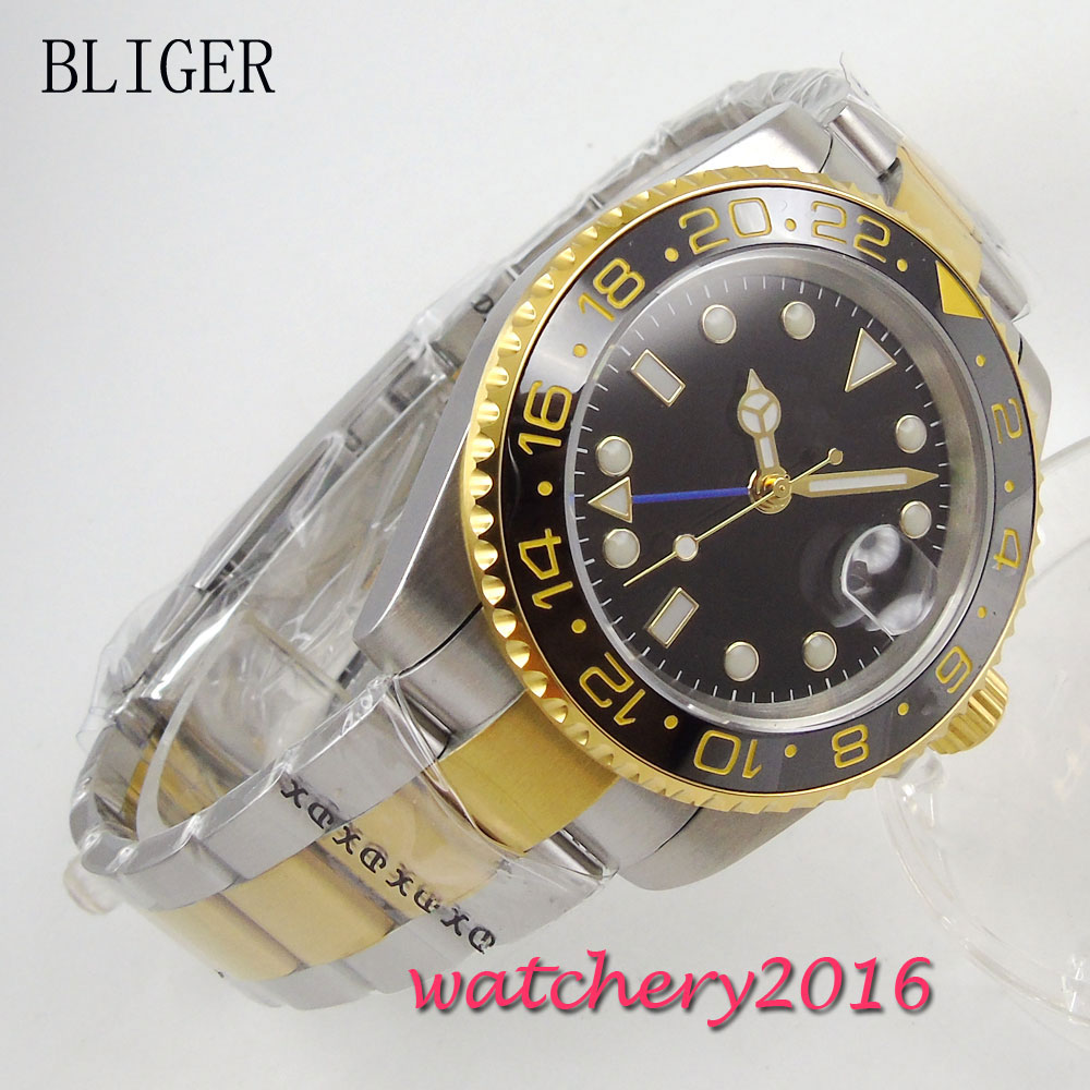 40mm Bliger Sterile Black dial Golden plated Sapphire Crystal Date Deployment Buckle GMT Automatic Mechanical Mens Wristwatch