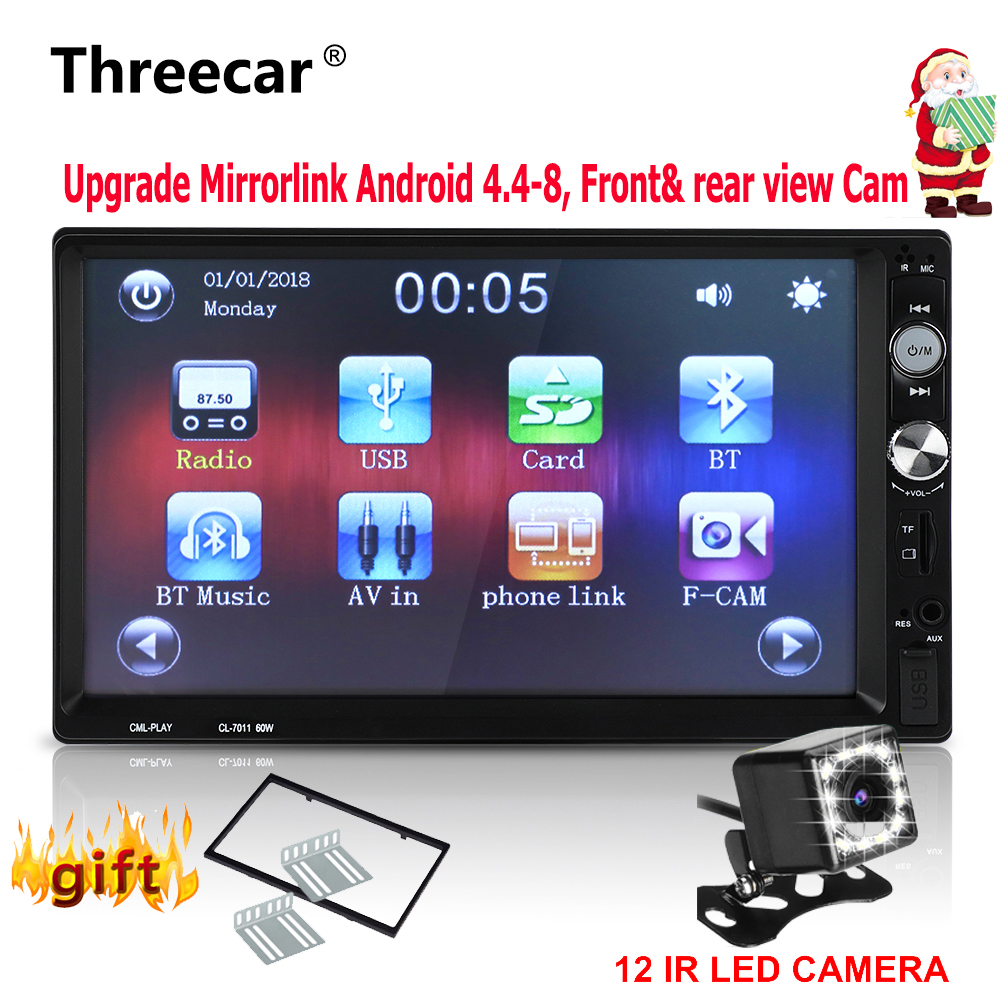 Car Radio Mirrorlink Android 2din Universal 1024 600 Bluetooth USB FM Front rear Camera radio cassette