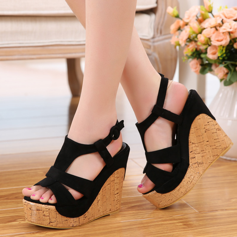 Women s Sandals Bohemia High Heel Wedges T Strap Candy Color Sandals Shoes