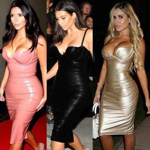 fe68589043e2f9 ... HOT 8 Colors Hot Celebrity Kim kardashian Knee Length Black Leather  Dress Sexy Party Tight Dress ...