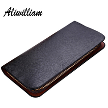 Leather Wallets Long Men Clutch Bag 2017 Brand Male Wallet Zipper Purse Clutches Men Card Holders Coin Phone Pocket Portemonnee