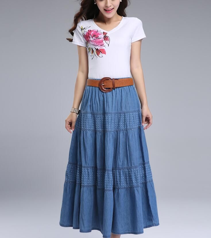 Women Summer Denim Skirts High Waist Plus Size Long Skirt Vintage Solid Color A-Line Jean Skirt Without Belt 2018 Spring A5390