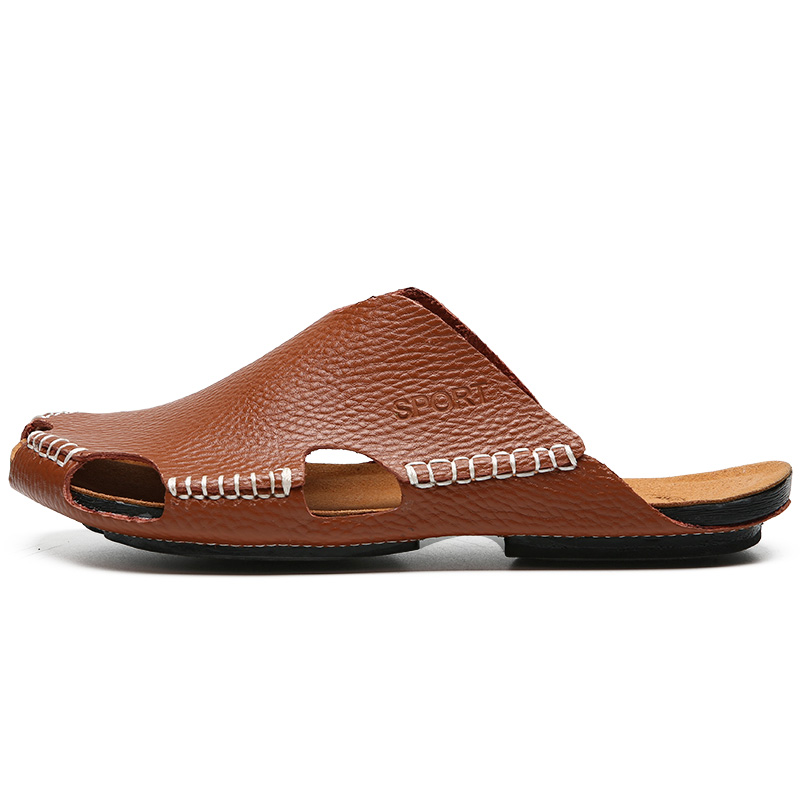Men Genuine Leather Handmade Sandals Summer Soft Breathable High Quality Slippers Casual Male Solid Color Gentlemen Flat Sandal