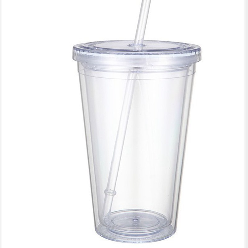 Hot Selling Double Layer Water Cup With Straw And Lid 16