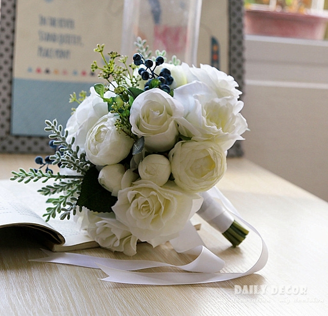 2018 new artificial rose wedding bouquet for brides bridesmaids 2018 new artificial rose wedding bouquet for brides bridesmaids rose blueberry fake flowers bridal bouquets mightylinksfo