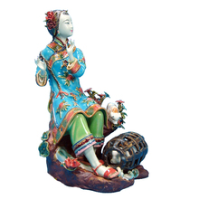 Antique Chinese Porcelain Statue of Beauty Zhulong Collectible Angel Figurines Pottery Glazed Ceramics Dolls for Christmas Gifts