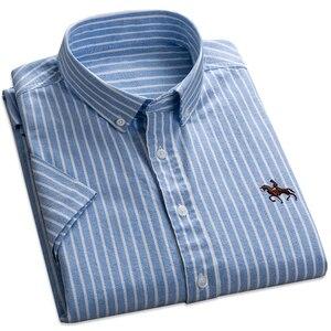 Image 1 - 2019 夏綿 100% の高品質ファッションビジネスの男性カジュアルシャツストライプ半袖シャツオックスフォードドレスシャツプラスサイズ