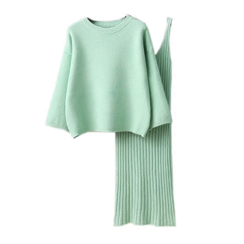 New 2017 Spring Autumn Two Piece Women Casual Loose Long Sleeved Pullover Sweater And Slim V-neck Dresses Knitted Suit Casacos
