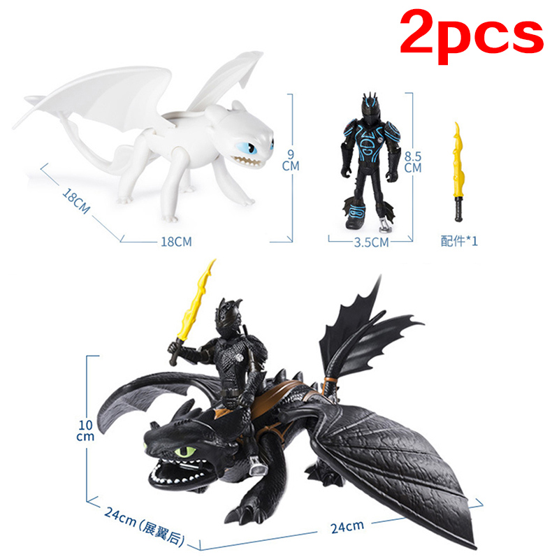 No Box Toothless How To Train Your Dragon 3 Light Fury Night Fury PVC Doll Collection Action Figure Gift Toys For Children
