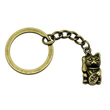 1 piece keyrings for a woman Lucky Cat wedding gifts for guests souvenirs 23x11mm pendant antique Bronze(China)