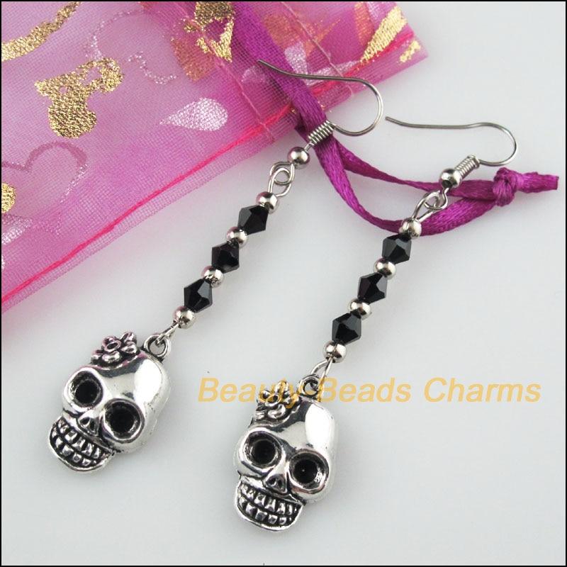 One Pair Crystal Black Beads Flower Skull Charms Tassel Dangle Earrings Hook Gift