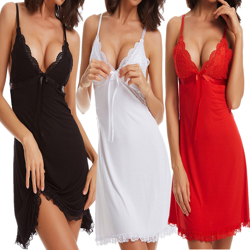 Sexy Women Lingerie Night Dress Lace Bow Spaghetti Strap Sleepwear Ladies Female Hollow Out Nightgown Underwear Sleepshirt