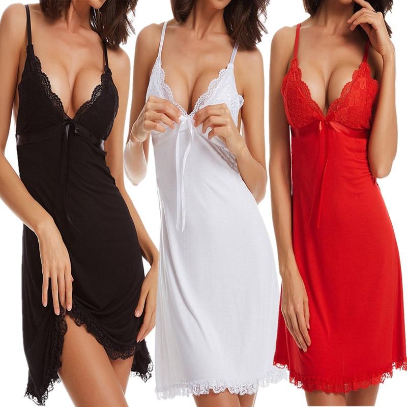 Sexy Women Lingerie Night Dress Lace Bow Spaghetti Strap Sleepwear Ladies Female Hollow Out   Nightgown   Underwear   Sleepshirt