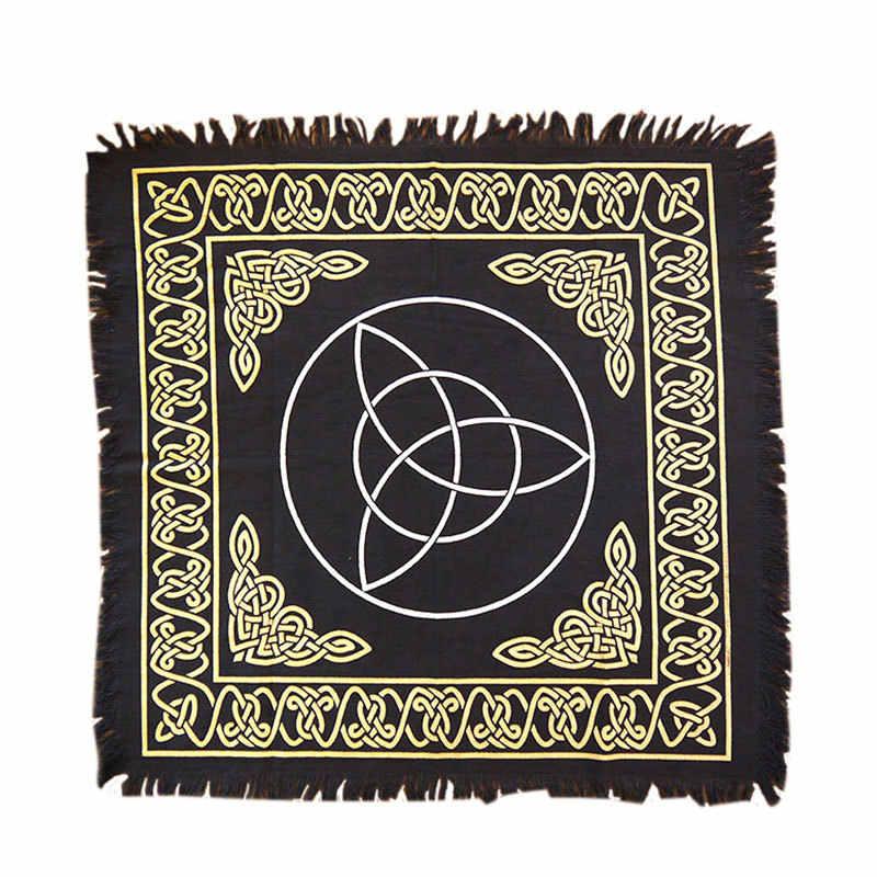 Nova 60x60 cm Altar jogo de Tabuleiro jogo de cartas de tarô Tarô Pano tampa de tabela toalha de mesa de algodão Wicca cobertor ouro Negro