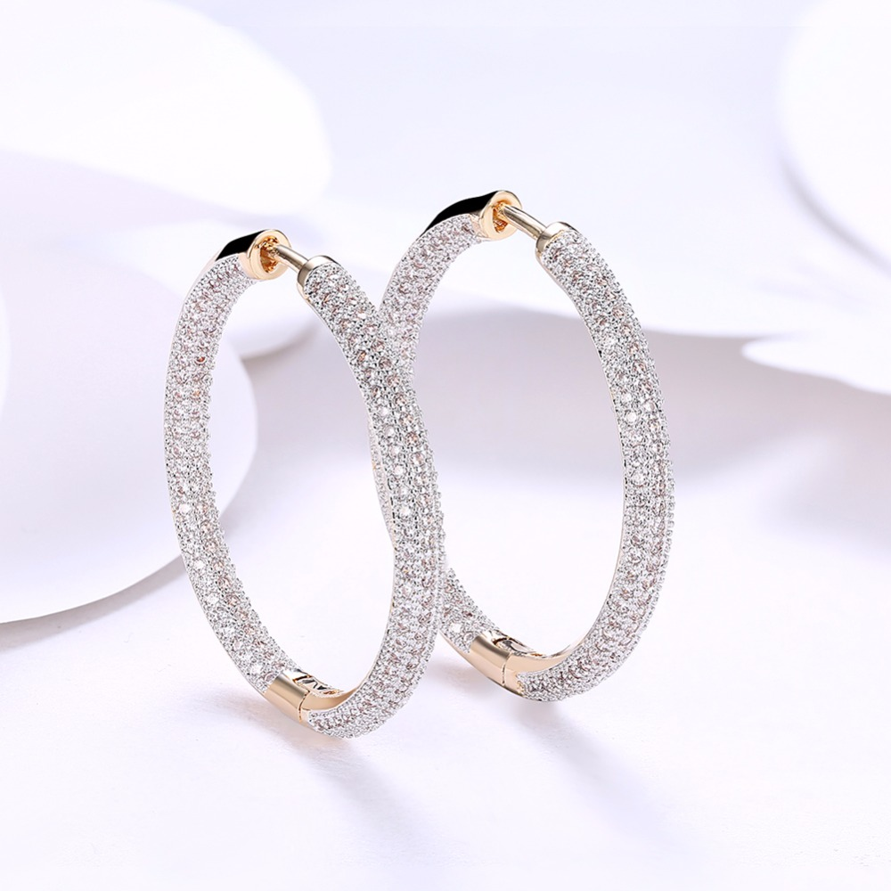 Romantic Champagne Gold Color Pave Full Cubic Zirconia Creole Round Big Hoop Earrings For Women 2018 New Fashion Jewelry Gifts creole