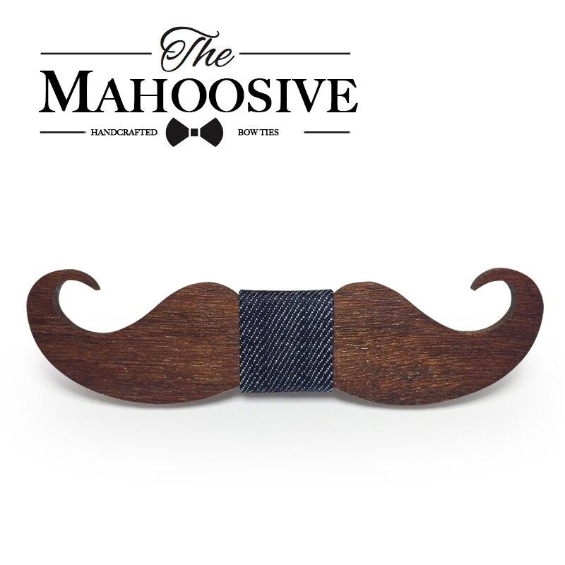 Mahoosive novelty neckties Handmade mustache Wooden bow s