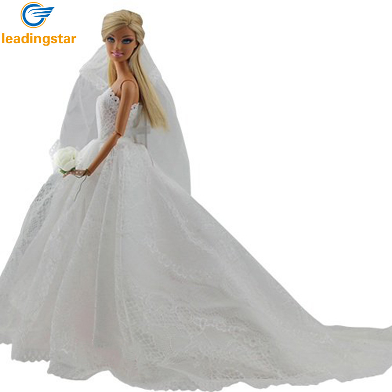 LeadingStar Bridal Gown Princess Dress Clothes Embroidered  Wedding Party Long White Dress For Barbie Doll Acessories zk20 leadingstar 2017 new wedding bridal dress princess gown evening party dress doll clothes fit for barbie doll for kids gift zk30