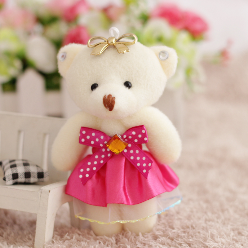 12pcs/lot Flower Bouquets Teddy Bear Small Model Cotton Plush Toys 12CM Dress Party Wedding Accessory Doll Bear Christmas Gift