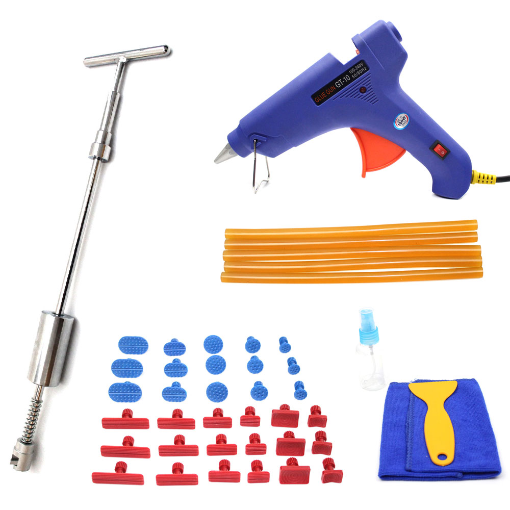 Car Dent Removal Tool Kit Paintless Dent Repair Set Slider Hammer Glue Gun Tabs Hand Tools 46pcs 1 4 inch high quality socket set car repair tool ratchet set torque wrench combination bit a set of keys chrome vanadium
