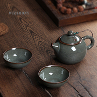 WIZAMONY Gift Package 3 Piece Set Top Grade Chinese Longquan Celadon Ancient Glaze Handcrafted Chinese Porcelain Kungfu Tea Set