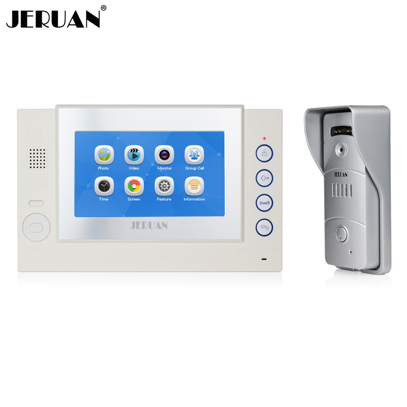 JERUAN Home safety 7`` LCD Color Touch Screen video door phone Record intercom system Metal shell HD MiNi Camera FREE SHIPPING jeruan home 7 video door phone intercom system kit rfid waterproof touch key password keypad camera remote control in stock