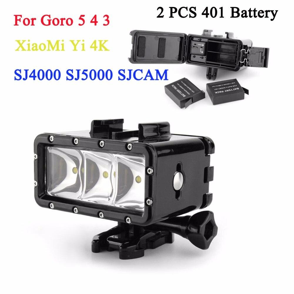 2 pcs GoPro 4 Batterie + 1 pcs Plongée Flash Lumière Led Sous-Marine Lumière de Remplissage Pour Gopro Hero 6 5 4 3 + 3 Session Xiaomi yi 4 k Accessoires