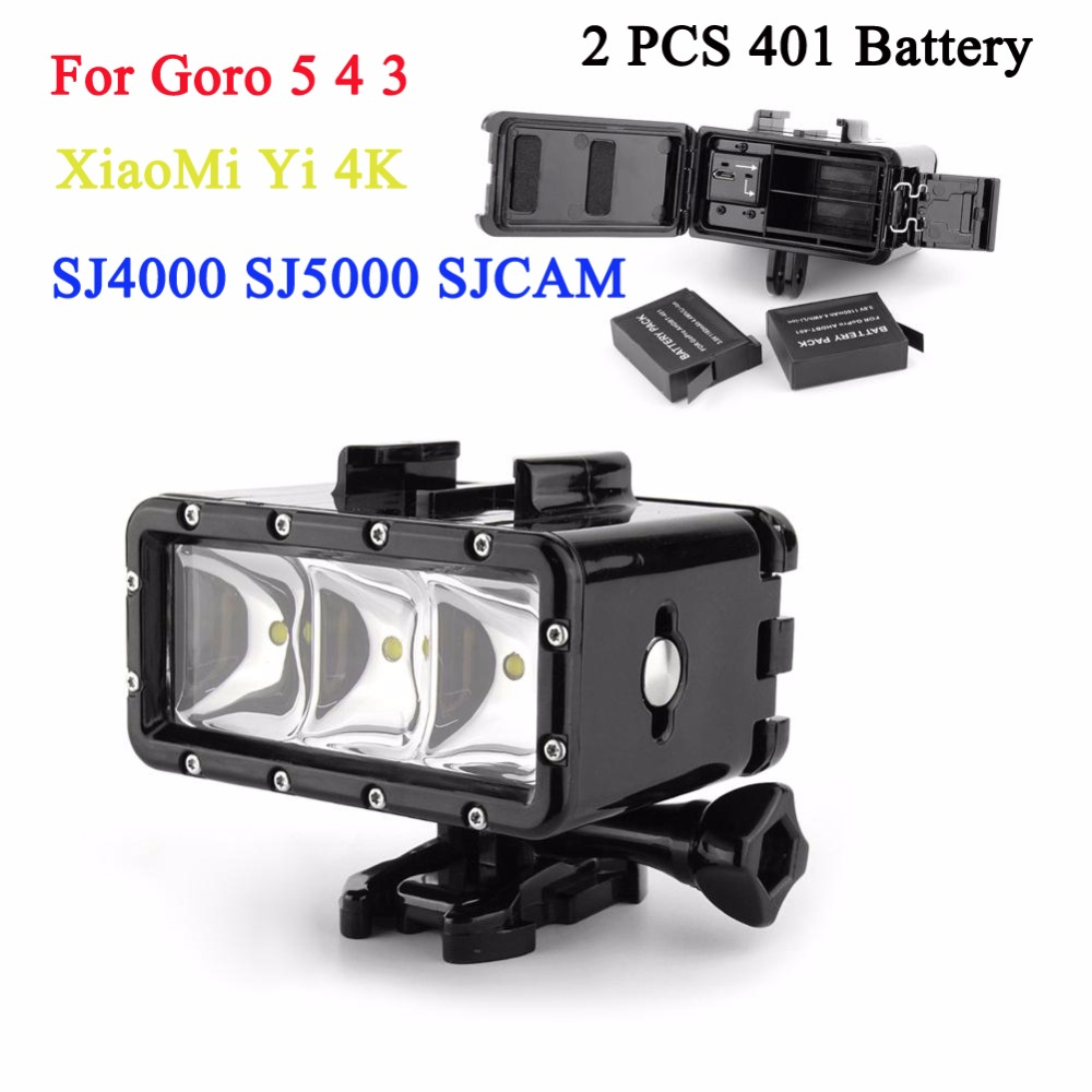 2PCS GoPro 4 Battery + 30m Diving Flash Light Underwater Led Fill Light For Gopro Hero 5 4 3+3 Session XiaoMi yi 4K Accessories black friday gopro led flash light underwater 30m diving pov flash fill light high light for gopro 4 3 3 xiaomi yi accessories