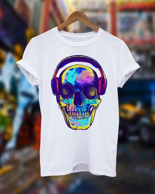 2016 Nwe Arrivée Hommes de La Musique Techno Rave Crâne T-Shirt Maison Dj  Club 9f1bb7d18c0b
