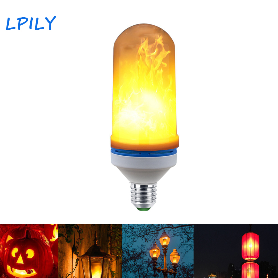 LPILY E27 LED Flame Effect Fire Light Bulb Flickering Flame Lamp ...