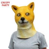 Yenilik Lateks Hayvan Parti Maskesi Komik Yetişkinler Tam Yüz Shiba köpek Başkanı Maskeler Fantezi Elbise Parti Cadılar Bayramı Için Cosplay Kostüm maske