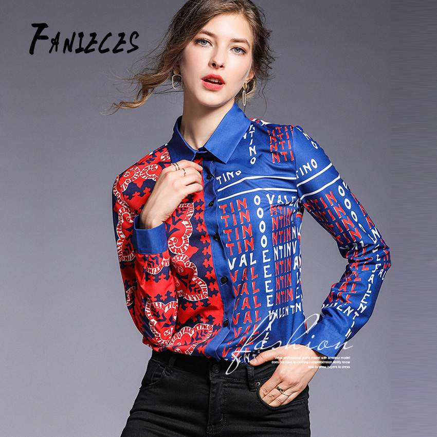 New Luxury 2019 Autumn Summer Women Floral Print Runway Shirt High Quality Brand Elegant Long Sleeve Turn Down Collar Blouses
