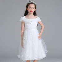 In Store 2017 New Arrive A Word Summer Dress Flower Girl Dresses Wedding Dress Pure White