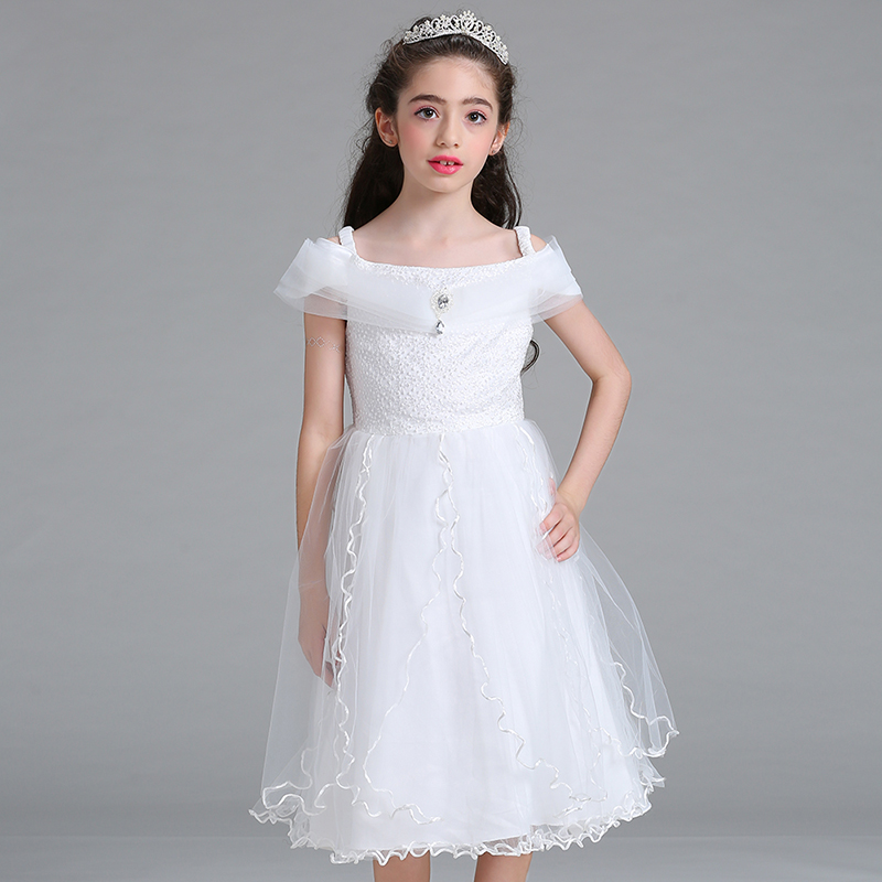 Retail Elegant Ruffled Tassel Boat Neck With Crystal Princess   Dress   Embroidery Beauty   Flower     Girls     Dress   With Ribbon Belt LM8807