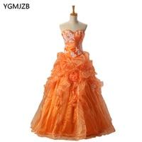 Cheap Quinceanera Dresses Orange Sweetheart Appliques Lace Vestidos De 15 Anos Ball Gown Sweet 16 Dresses Debutante Gown