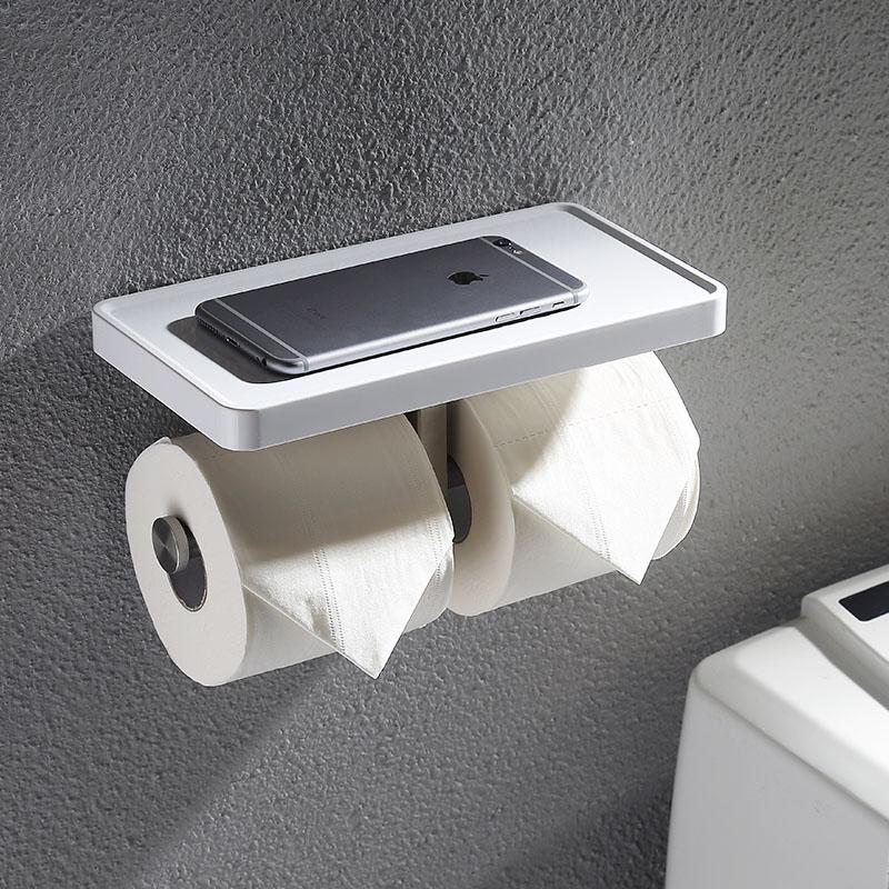 купить 304 Stainless Steel Double Roll Paper Holder Bathroom Mobile Phones Towel Rack Brushed Toilet paper Holder по цене 2139.88 рублей