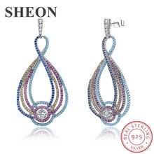 SHEON Luxury 925 Sterling Silver Fashion Colored Zircon Geometric Drop Earrings For Women Jewelry Birthday Gift