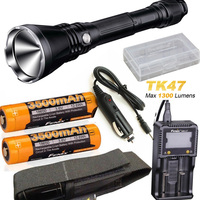 Fenix TK47 1300 Lumen 766 Yard Throwing Neutral White LED Tactical Flashlight with 3500 battery, ARE C1+ charger,car charger