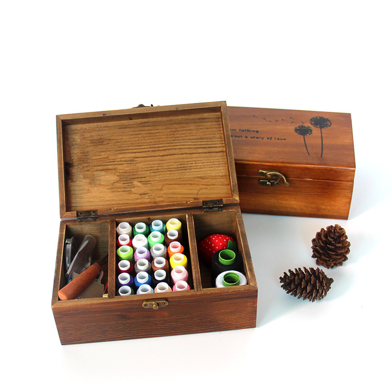 Solid wood sewing box set make up organizer wooden box Household sewing thread package Chinese style