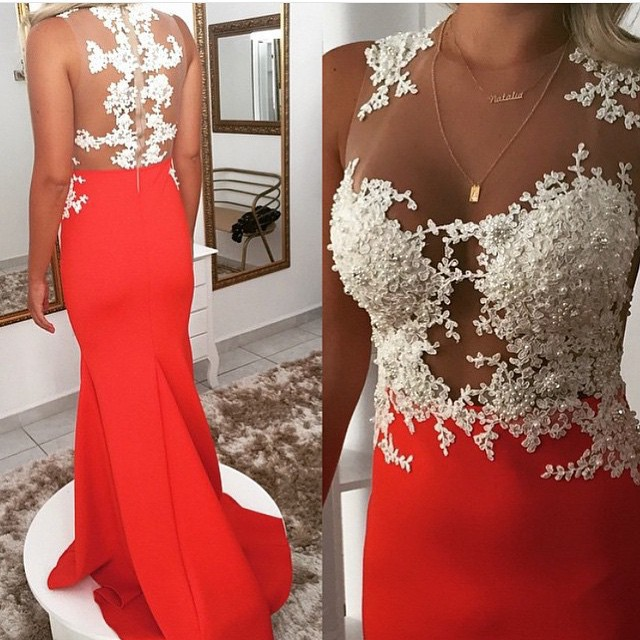 Robe de soiree New Fashion   Prom     Dresses   2016 Illusion Neck Sleeveless Mermaid Floor Length Beading Appliques Long Evening   Dress