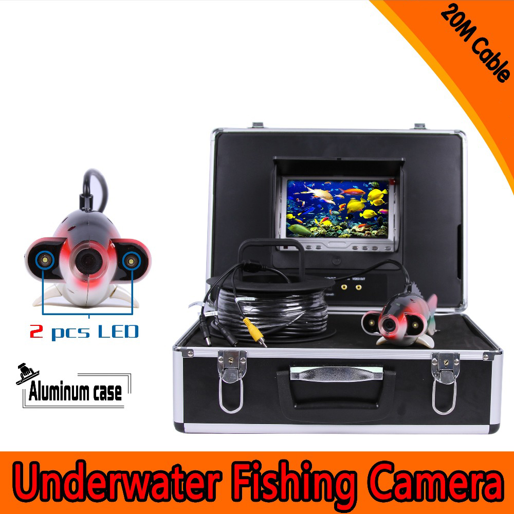 (1 Set) 20M Cable 7 inch Color Monitor HD surveillance system Underwater fishing camera Fish finder 2 PCS white LED Freeshippins цена