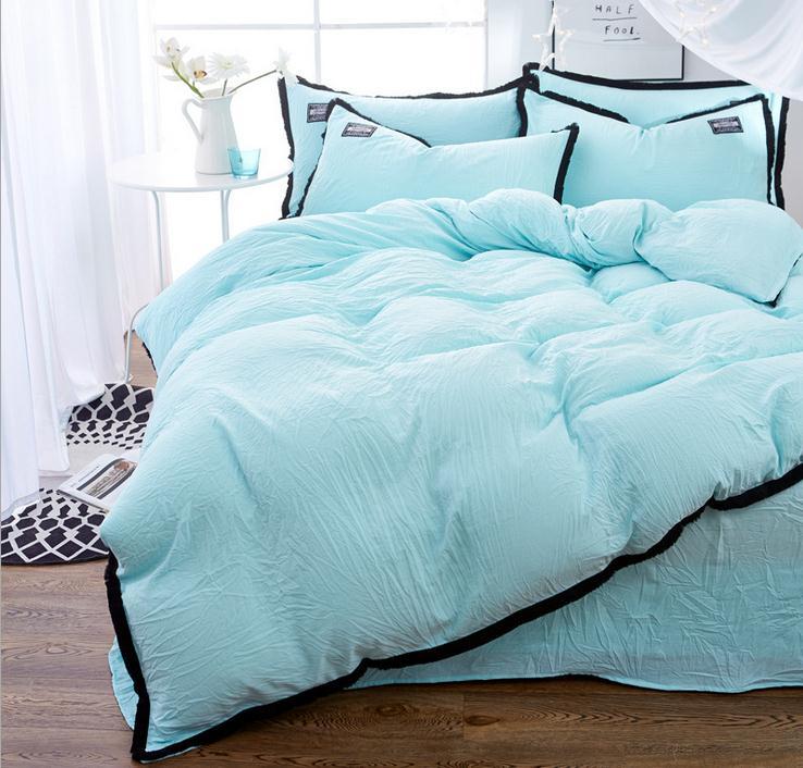 Beau Online Shop Light Blue Bedding Set Duvet Cover Set Twin Full Queen King  Size Bedclothes Bed Sheet Bedding Sets Bed Linens Pillowcase Set |  Aliexpress Mobile