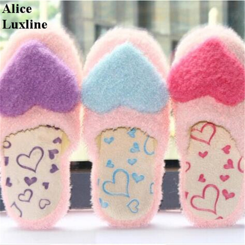 Sweet 2017 Autumn New Women Home Slippers Winter Indoor Rubber Shoes Cute Heart Patterns warm Slippers Plus Size 41 42 shoes USA цена и фото