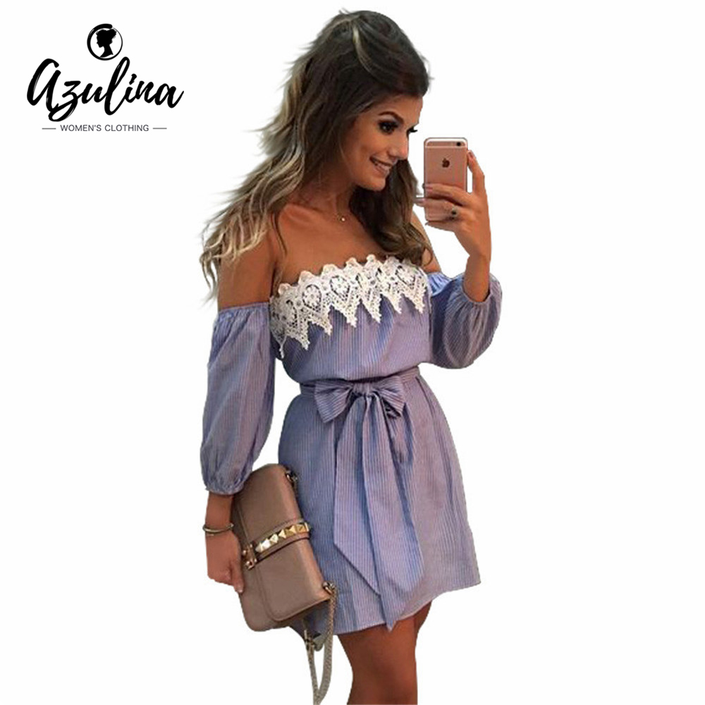 Azulina Sexy Off Shoulder Blue Striped Mini Dress Women Plus Size