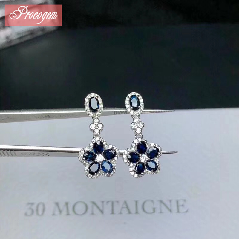 Natural Sapphire Dangling Earrings for Women Best gift Genuine gems Drop Flower Earrings Accessories with Zicon S925 silver #119Natural Sapphire Dangling Earrings for Women Best gift Genuine gems Drop Flower Earrings Accessories with Zicon S925 silver #119